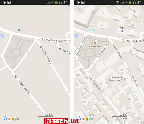 Карта для офлайн-доступа приложения Google Maps получается заметно менее детализированной
