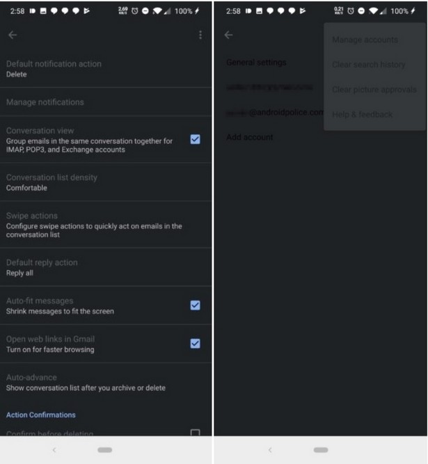 Gmail dark mode test